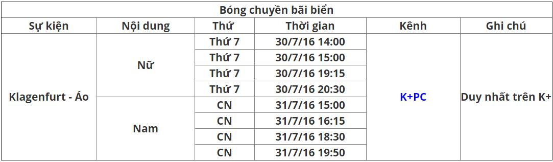 Lịch phát sóng K+ tuần 31.3