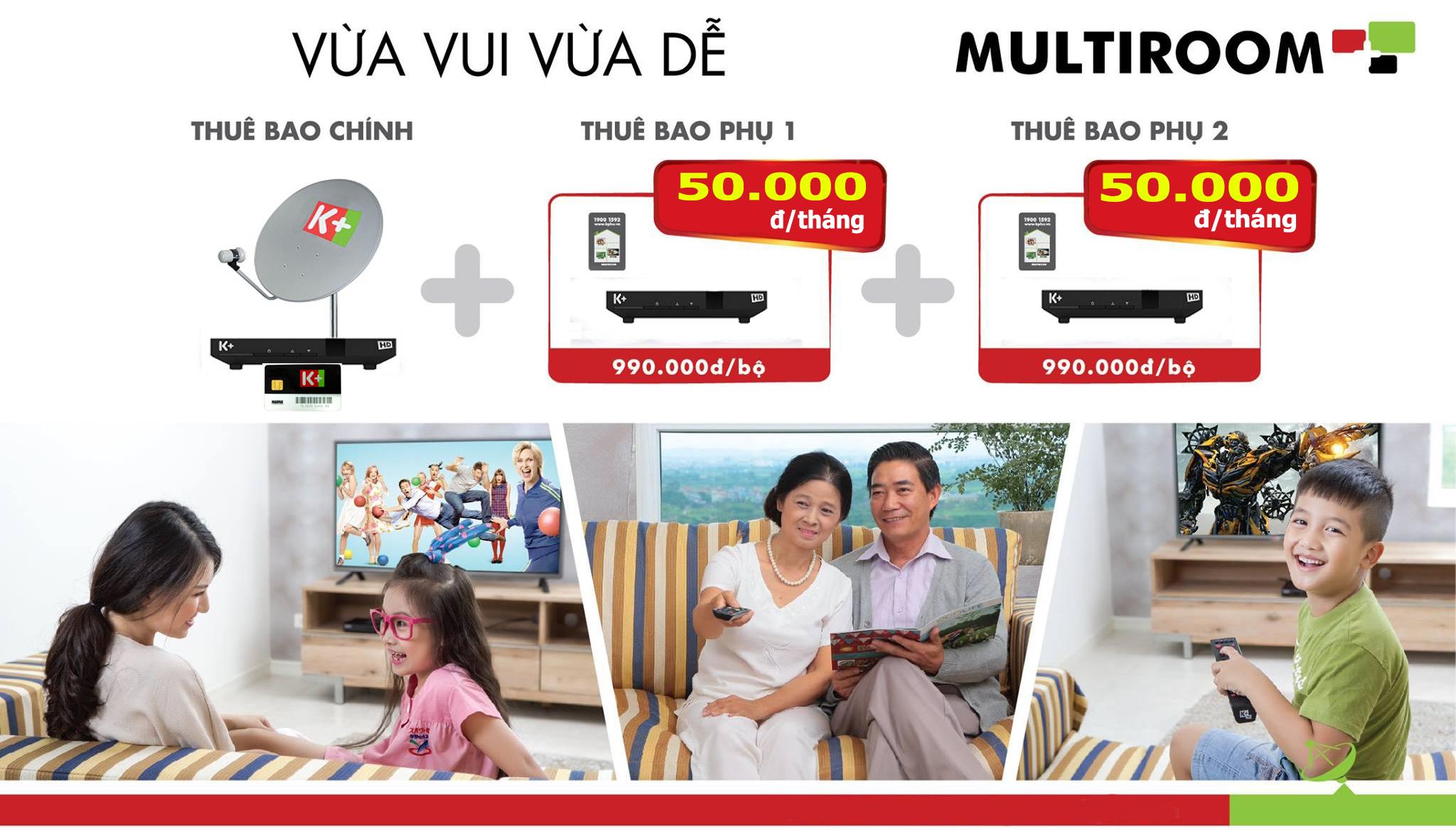 đầu thu K+, Multiroom, đầu phụ K+, truyền hình K+